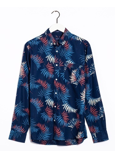 Gant Erkek Desenli Regular Fit Tech Prep Gömlek Mavi
